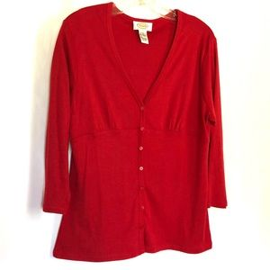 Talbots Red Cardigan Buttons Size M